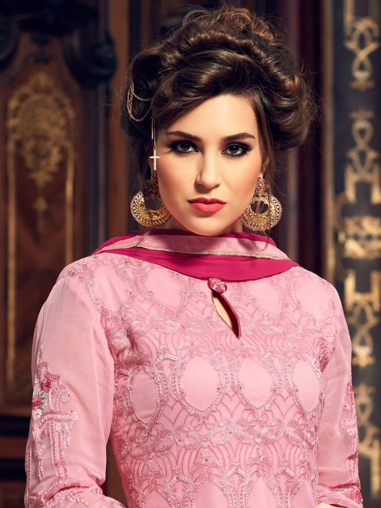 Light & Dark Pink Georgette Designer Embroidered Pant Suit