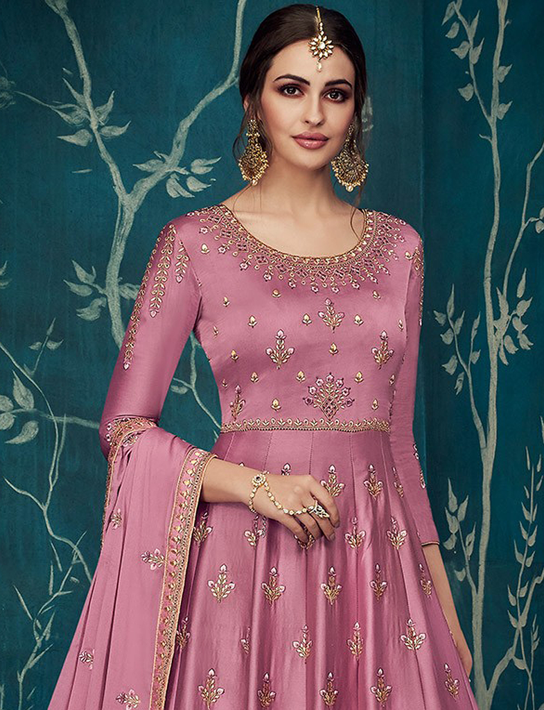 Light Fuchsia Pink Designer Embroidered Satin Silk Anarkali Suit-Saira's Boutique