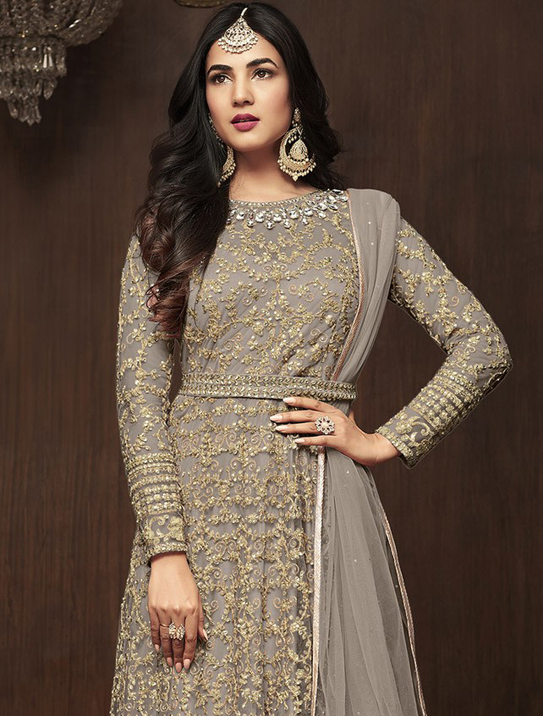 Light Gray Designer Embroidered Net Wedding Bridal Anarkali Suit-Saira's Boutique