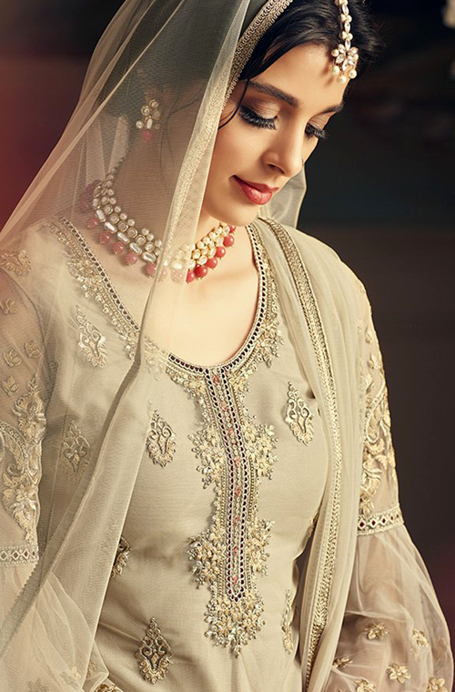 Light Gray Designer Heavy Embroidered Net Sharara Suit-Saira's Boutique