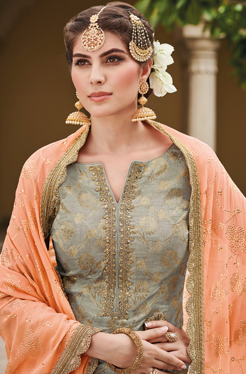 Light Gray & Peach Designer Embroidered Silk Jacquard Gharara Suit-Saira's Boutique