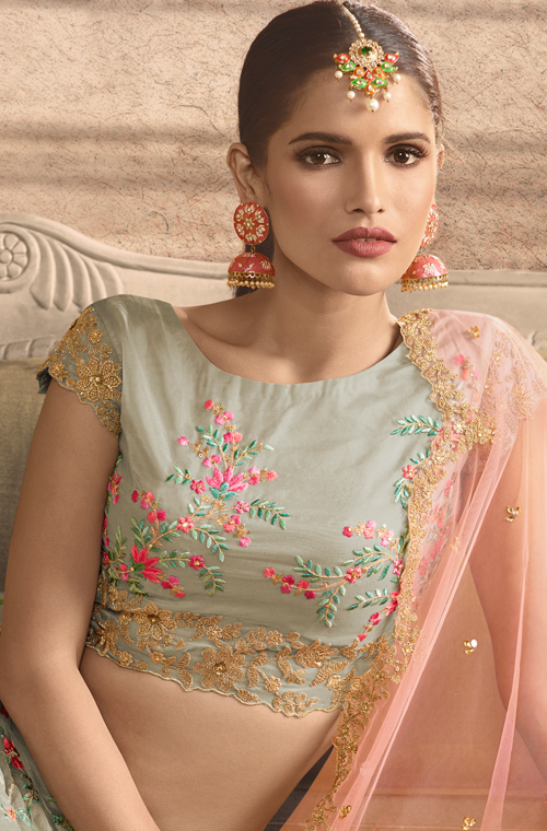 Light Gray & Peach Designer Heavy Embroidered Silk Wedding Lehenga-Saira's Boutique