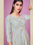 Light Gray & Yellow Designer Printed Cotton Satin Kurti Palazzo Set-Saira's Boutique