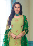 Light Green & Dark Green Designer Embroidered Georgette Churidar Suit-Saira's Boutique