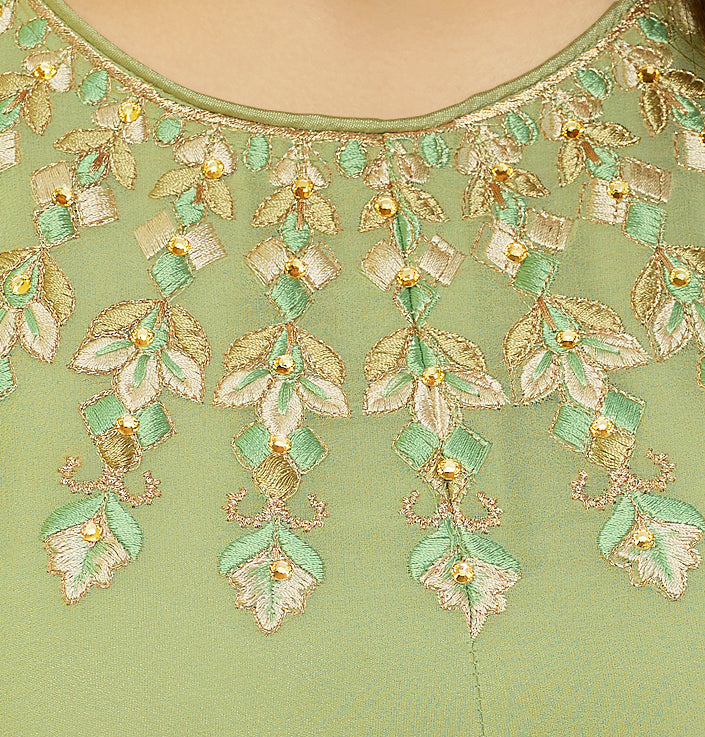 Light Green Designer Embroidered Georgette Indo-Western Kurti-Saira's Boutique