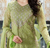Light Green Designer Embroidered Organza Party Wear Pant Suit-Saira's Boutique