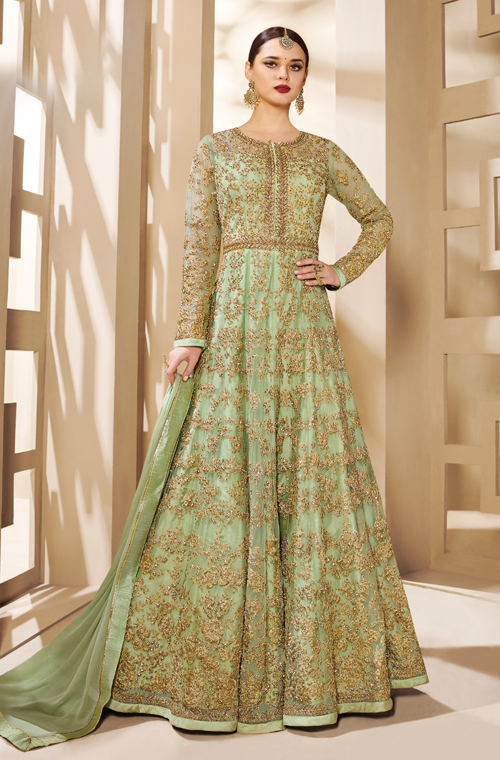 Light Green Designer Heavy Embroidered Net Bridal Anarkali Suit-Saira's Boutique
