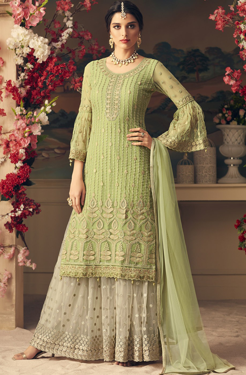 b02a237260 Light Green & Off White Designer Heavy Embroidered Net Sharara Suit ...