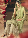 Light Green & Off White Designer Heavy Embroidered Net Sharara Suit-Saira's Boutique