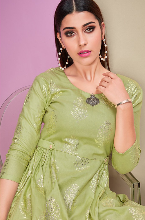 Light Green & Peach Designer Printed Cotton Satin Kurti Palazzo Set-Saira's Boutique