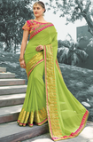 Light Green & Pink Designer Embroidered Georgette Party Wear Saree