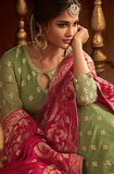 Light Green & Pink Designer Heavy Embroidered Georgette Wedding Anarkali Lehenga-Saira's Boutique