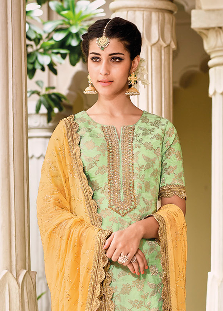 Light Green & Yellow Designer Embroidered Silk Jacquard Gharara Suit