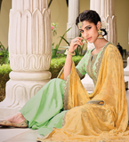 Light Green & Yellow Designer Embroidered Silk Jacquard Gharara Suit-Saira's Boutique