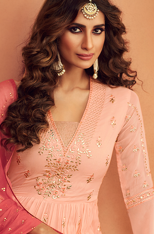 Light Peach Designer Embroidered Georgette Sharara Suit-Saira's Boutique
