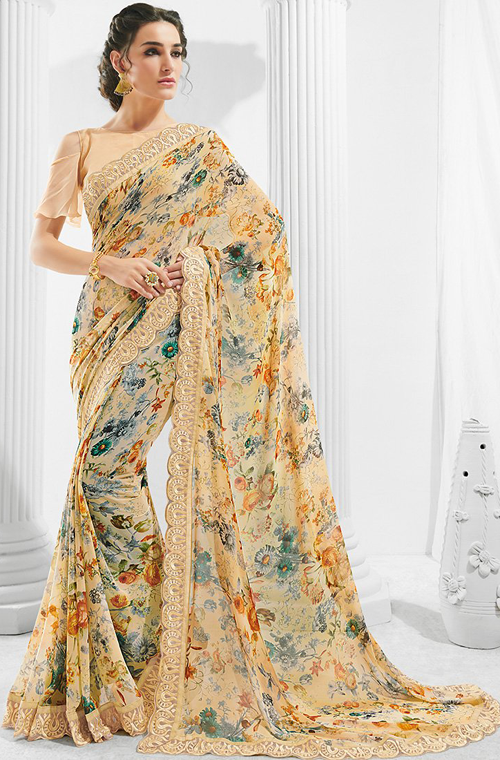 Georgette Light Designer Saree Floral Peach Print MVGqSzpU