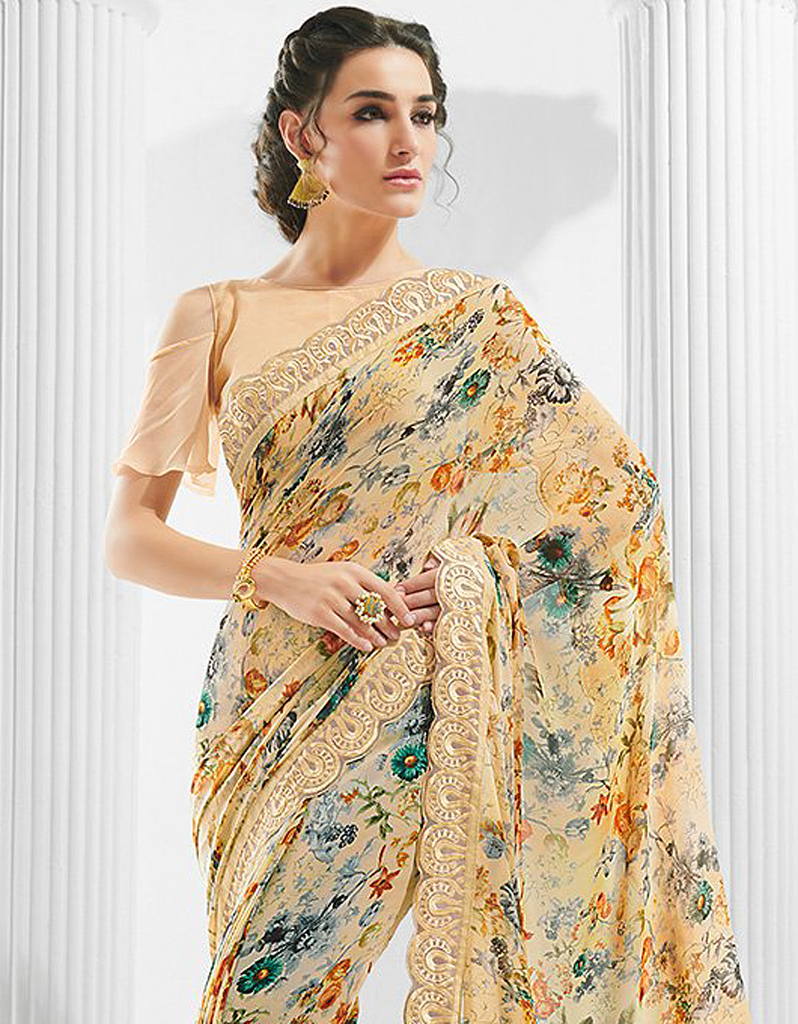 Light Peach Designer Floral Print Georgette Saree-Saira's Boutique
