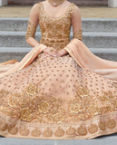 Light Peach & Gold Designer Heavy Embroidered Net Bridal Anarkali Suit-Saira's Boutique
