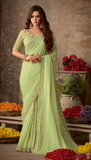 Light Pear Green Designer Embroidered Silk Party Wear Saree-Saira's Boutique