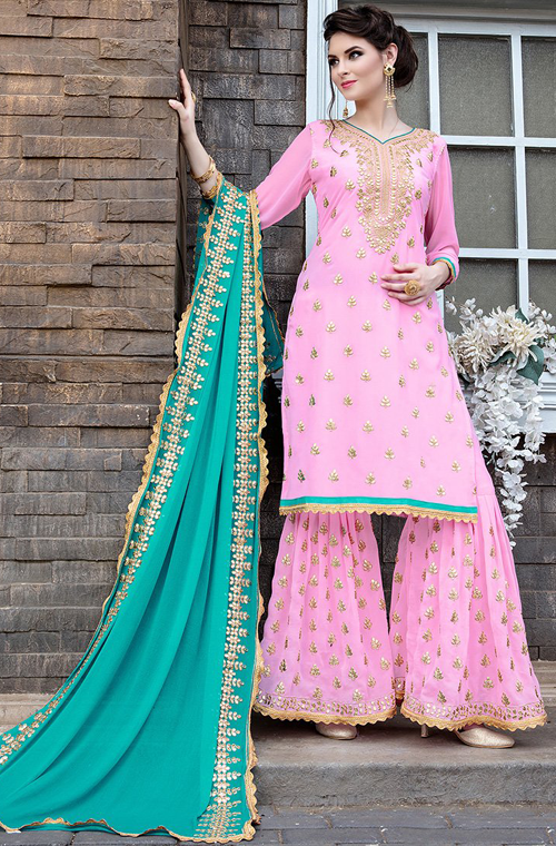 b6579433bc Light Pink & Blue Designer Heavy Embroidered Georgette Wedding Gharara Suit