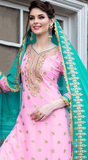 Light Pink & Blue Designer Heavy Embroidered Georgette Wedding Gharara Suit-Saira's Boutique