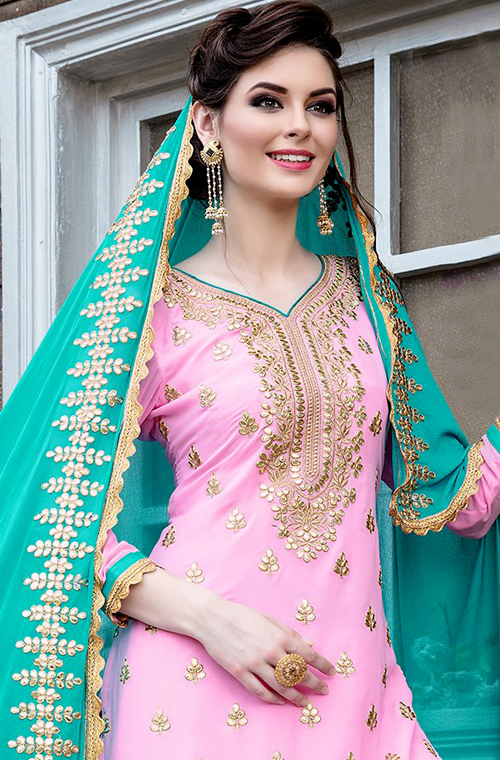 Light Pink & Blue Designer Heavy Embroidered Georgette Wedding Gharara Suit