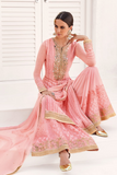 Light Pink Designer Embroidered Georgette Palazzo Suit-Saira's Boutique