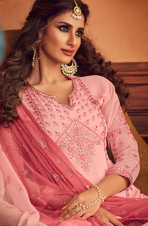 Light Pink Designer Embroidered Georgette Sharara Suit-Saira's Boutique