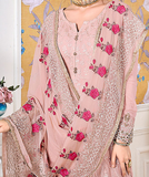 Light Pink Designer Embroidered Georgette Straight Cut Pant Suit-Saira's Boutique