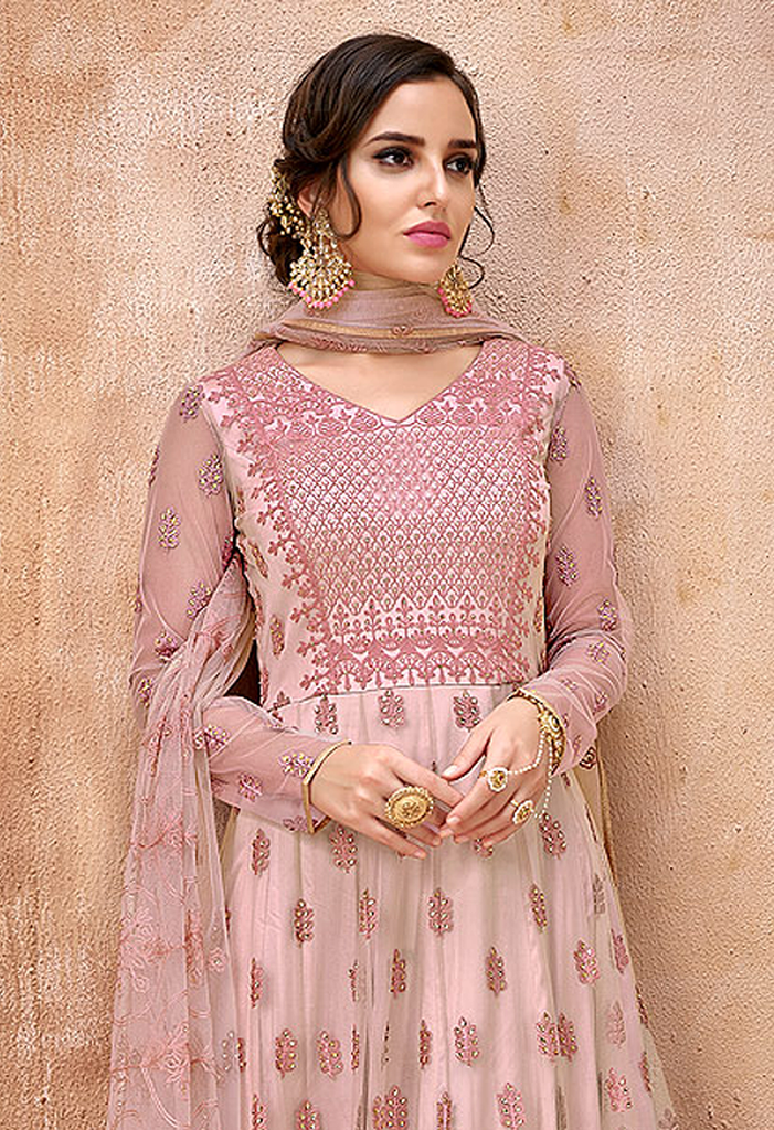 Light Pink Designer Embroidered Net Wedding Anarkali Suit-Saira's Boutique