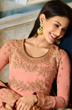 Light Pink Designer Embroidered Silk Wedding Anarkali Suit-Saira's Boutique