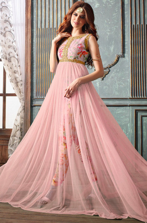 Light Pink Designer Net Embroidered Indo-Western Gown – Saira\'s Boutique