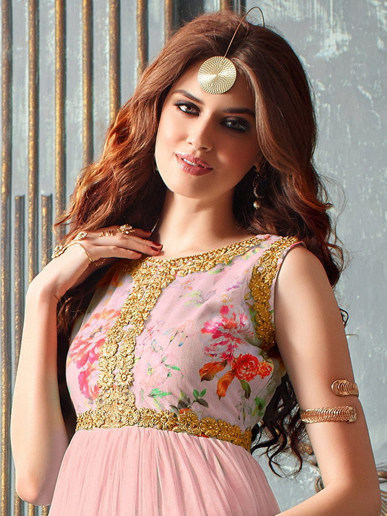 Light Pink Designer Net Embroidered Indo-Western Gown