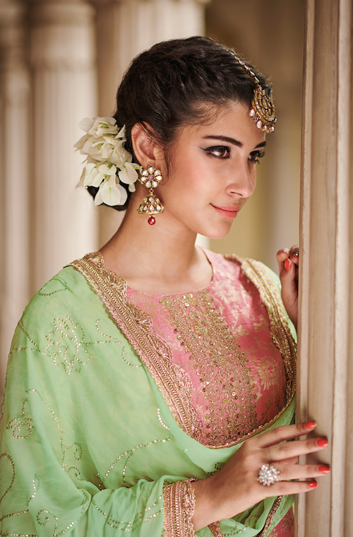 Light Pink & Mint Green Designer Embroidered Silk Jacquard Gharara Suit