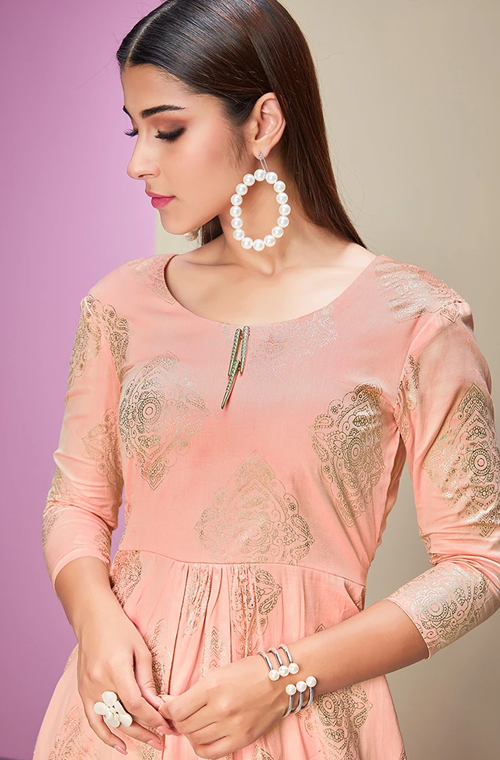 Light Pink & Off White Designer Printed Cotton Satin Kurti Palazzo Set-Saira's Boutique