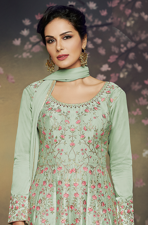 Light Pista Green Designer Embroidered Satin Silk Anarkali Gown-Saira's Boutique