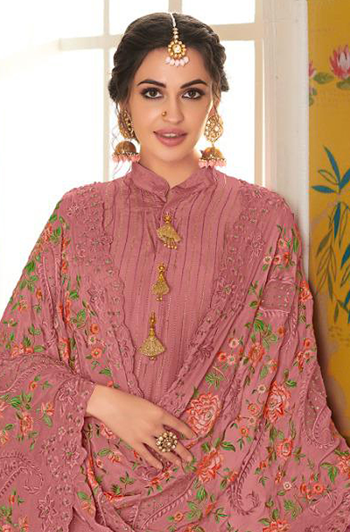 Light Rouge Pink Designer Embroidered Silk Party Wear Pant Suit-Saira's Boutique