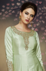 Light Sea Green Designer Embroidered Satin Silk Anarkali Gown-Saira's Boutique