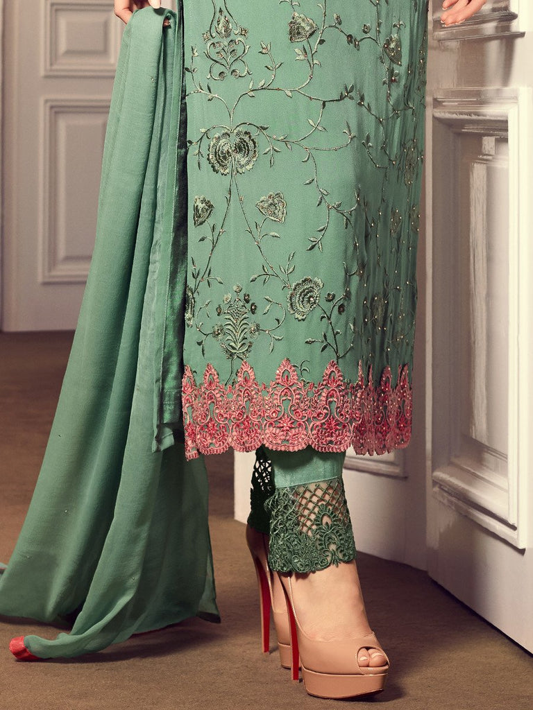 Light Sea Green Georgette Designer Embroidered Pant Suit