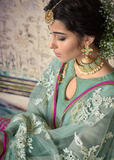 Light Sea Green & Hot Pink Designer Embroidered Georgette Palazzo Suit-Saira's Boutique