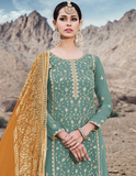 Light Teal Green & Mustard Designer Embroidered Georgette Sharara Suit-Saira's Boutique