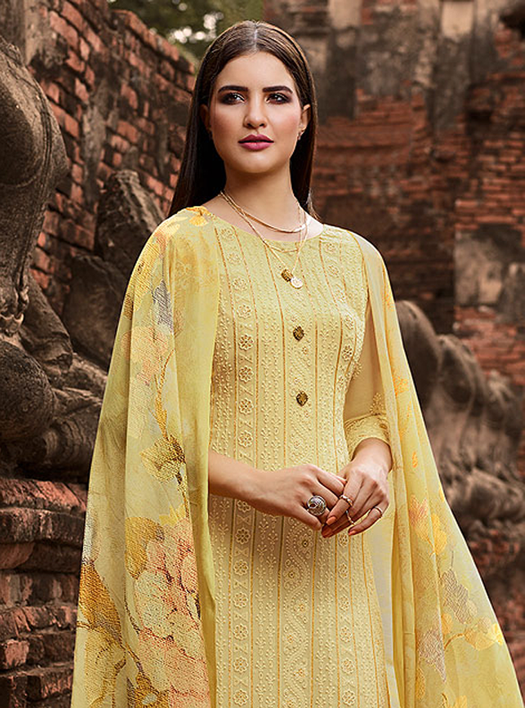 Light Yellow Designer Embroidered Lucknowi Chikankari Pant Suit-Saira's Boutique