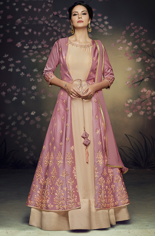 Lilac & Beige Designer Embroidered Jacket Style Anarkali Gown-Saira's Boutique