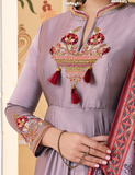 Lilac Purple Designer Embroidered Silk Anarkali Suit-Saira's Boutique