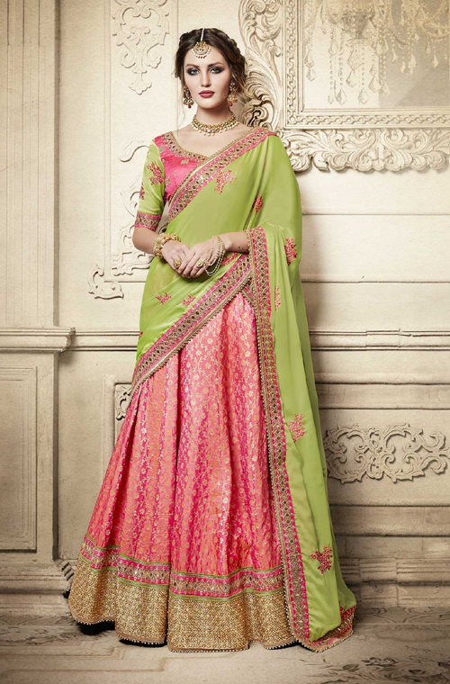 Liril Green & Pink Designer Heavy Embroidered Brocade Wedding Lehenga-Saira's Boutique