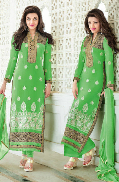 Green Georgette Embroidered Straight Suit-Saira's Boutique