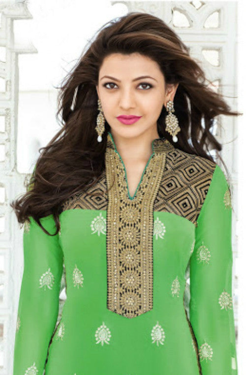 Green Georgette Embroidered Straight Suit - Saira's Boutique