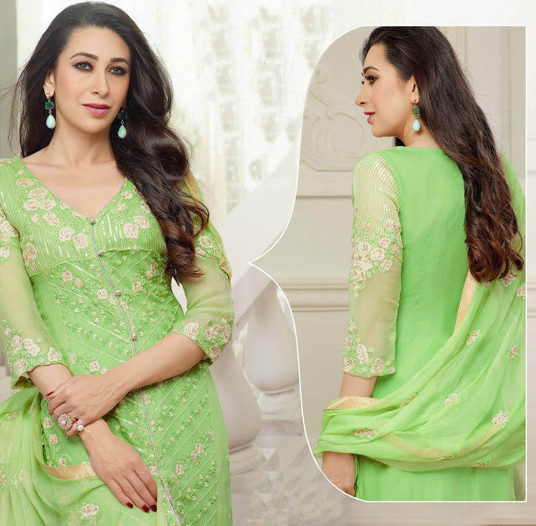 Green Georgette Embroidered Pant Suit - Saira's Boutique
