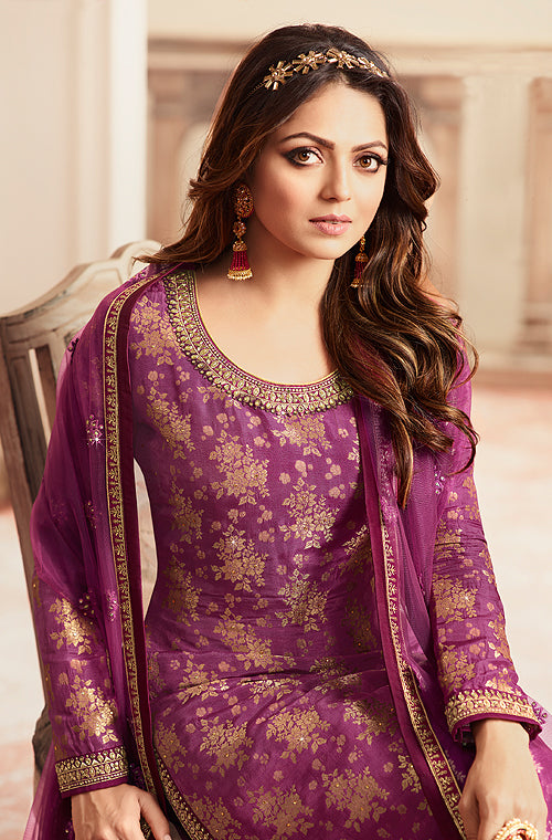 Magenta Purple Designer Embroidered Jacquard Sharara Suit-Saira's Boutique