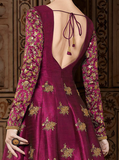 Magenta & Gold Designer Embroidered Silk Anarkali Gown-Saira's Boutique